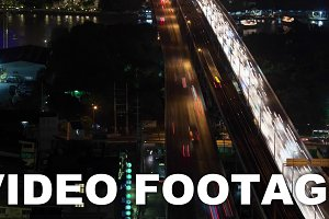 Timelapse of night traffic across