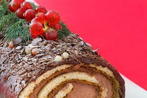 Chocolate yule log christmas cake