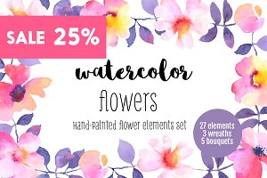 Flower watercolor illustration set