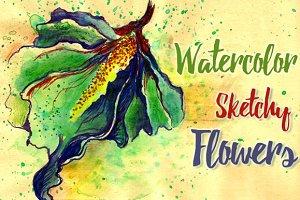 Watercolor Sketchy Flowers
