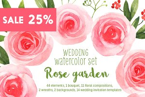 Wedding watercolor floral bundle