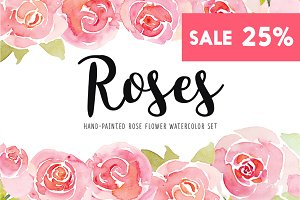 Roses watercolor illustrations set