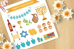 Hanukkah set of icons