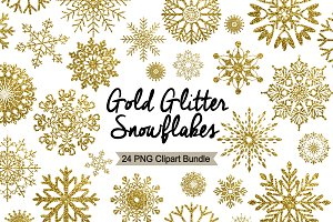 Winter Clipart - Gold Glitter