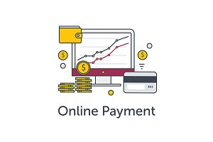 E-commerce or payment online icons.