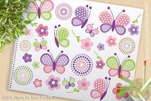 Pink Butterflies - Vector Clipart