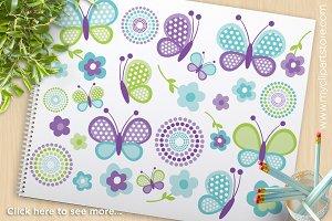 Blue Butterflies - Vector Clipart