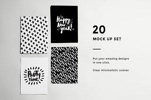 Bundle! 20 Minimalistic B&W Mock Ups