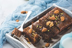 Chocolate cake for cozy breakfast with milk. Vertical