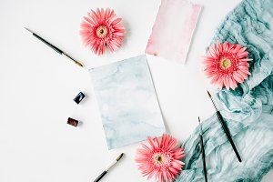 Gerbera daisy and watercolor