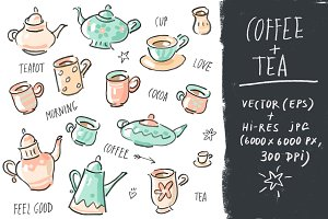 "Vector set collection ""Tea+Coffee"""
