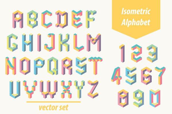 Isometric font. Memphis style.