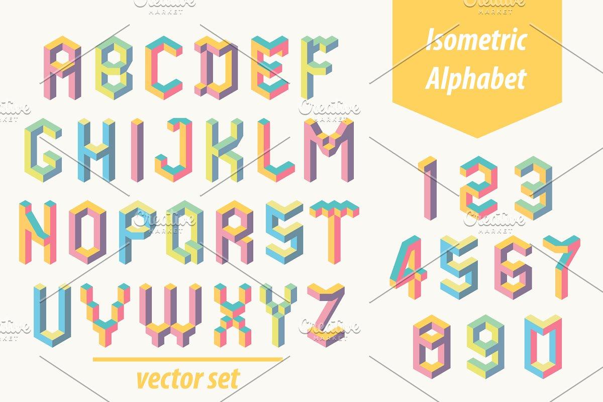 Isometric font  Memphis style