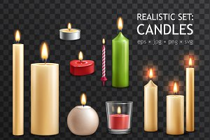 Candles Realistic Set