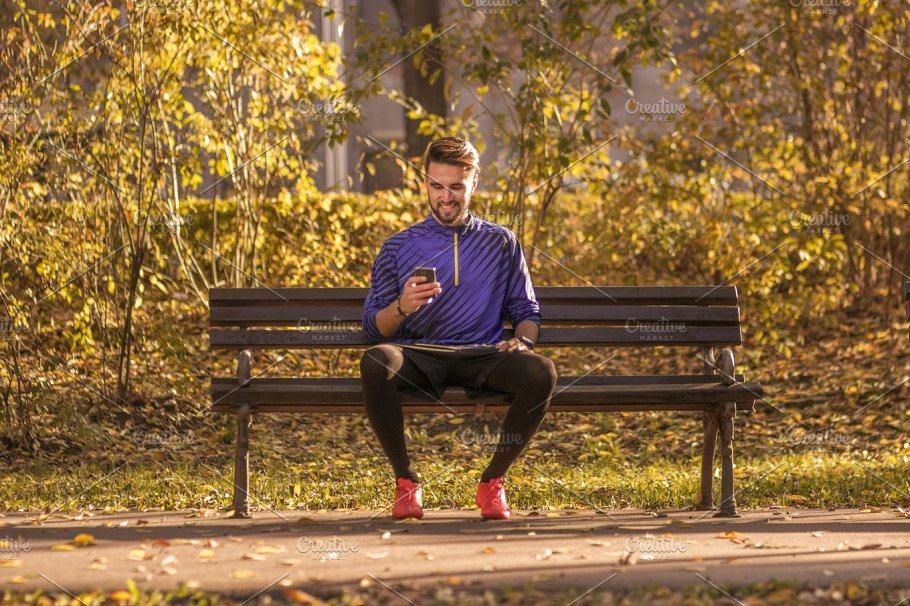 Man Sitting Bench Park Athlete