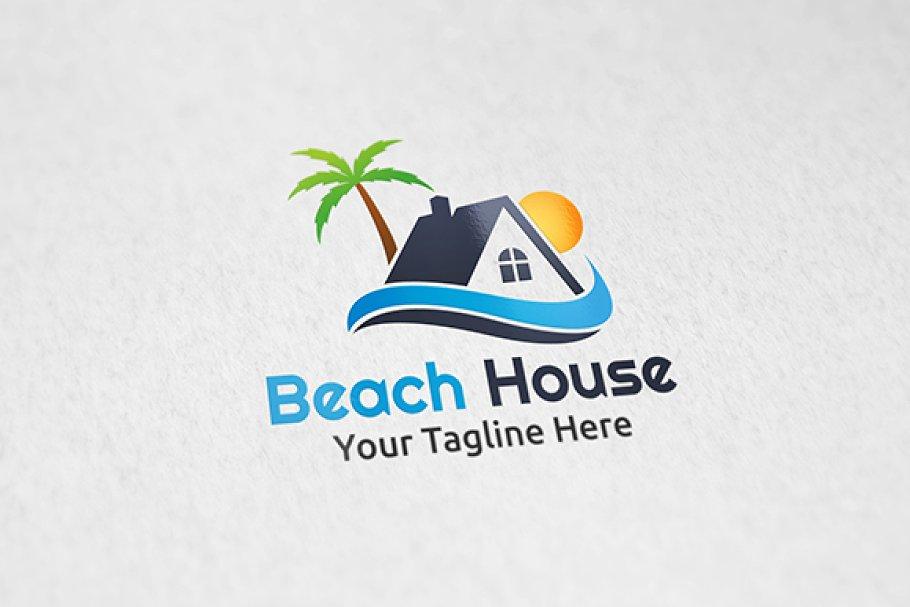 Beach House Logo Template Creative