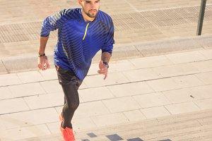 man athlete runner exercise steps