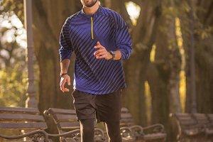 happy man athlete jogging running