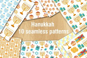 Hanukkah set of 10 seamless patterns