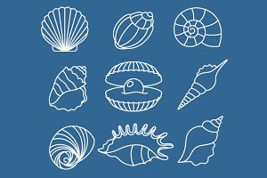 Sea shell outline icons