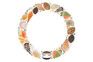 Marine life wreath or sea shells