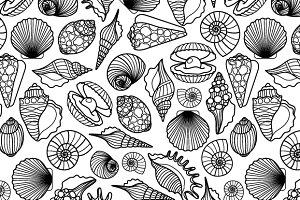 Hand drawn sea shells pattern