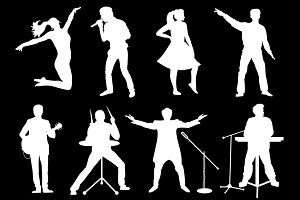 Vector musicians silhouettes