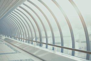 Teal and blue futuristic tunnel