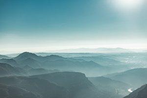 Montserrat mountains with haze