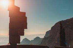 stone monument & morning Montserrat