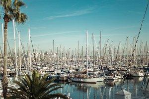 multiple yachts near beach