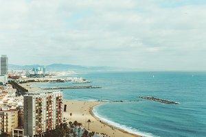 beach and sea in Barcelona, Spain