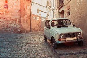 Retro car on ancient street