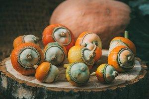 yellow, orange decorative pumpkins