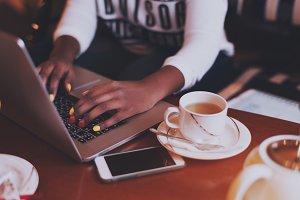 hands, nail art, laptop, coffee