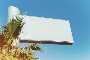 Mock up of blank white billboard