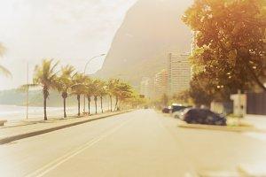 Tilt shift shooting of road in Rio