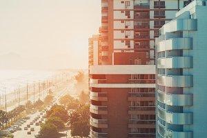 Street of Rio de Janeiro near ocean