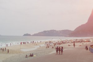 View on beach and ocean of Rio