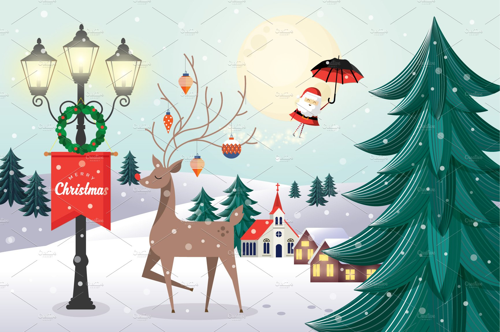 Christmas Greeting Template Vector Illustrations Creative Market