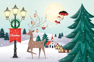 christmas greeting template vector