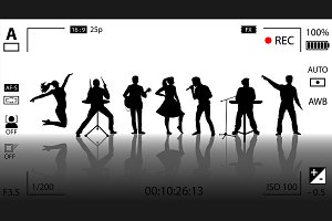 Concert video recording. Vector