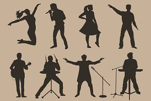 Brown vector musicians silhouettes
