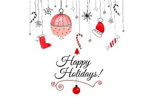 Handdrawn christmas doodle postcard