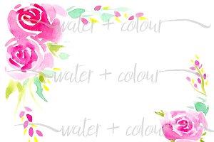 pink watercolor roses border
