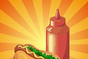 Bright vector ketchup and hot dog