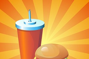 Colorful image with drink and burger