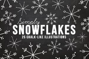 Chalkboard Snowflake Illustrations