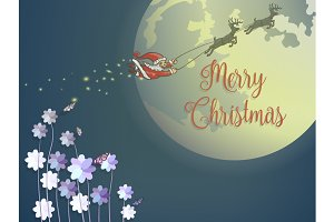 Flying santaclaus and deer with moon