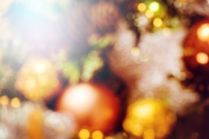 Blurred golden Christmas decoration